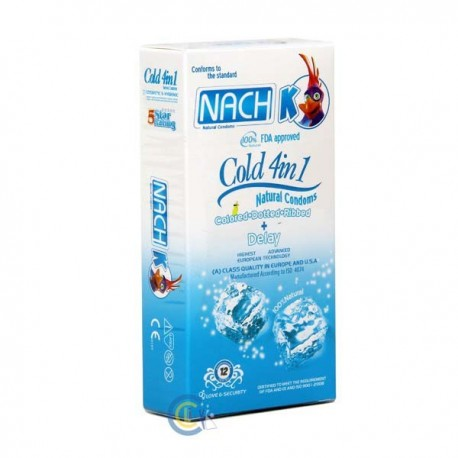 کاندوم ناچ کدکس خنک و حلقوی خاردار و آبی و تاخیری NACH KODEX-COLD 4in1-COLD+DOTTED+RIBBED+BLUE+DELAY